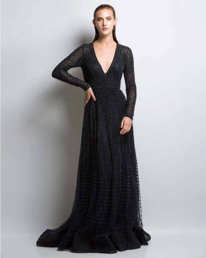 Norma Black Embroidered Gown