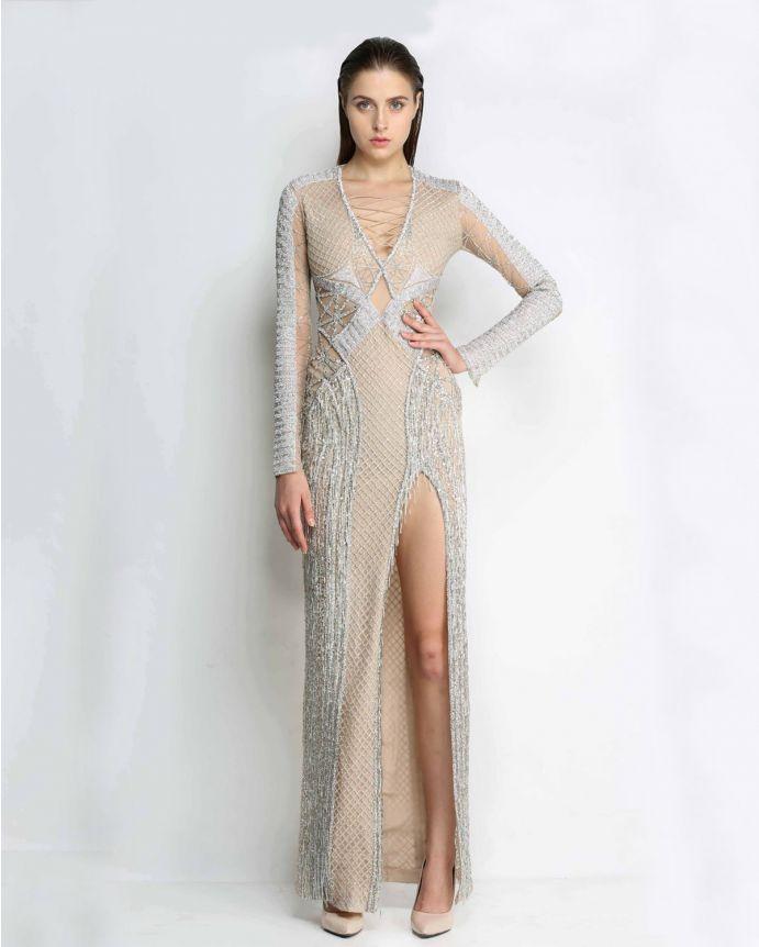 Zebia Crystal Work Heavy Gown