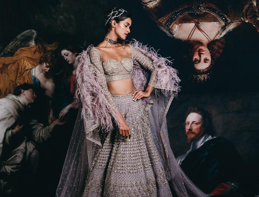 Couture week 2019 Bridal heay work design lehenga Set
