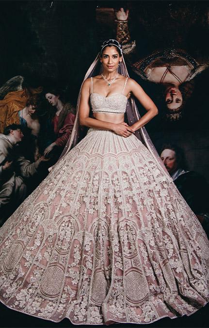 Couture week 2019 Bridal floral pink Lehenga Set