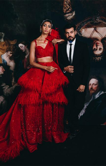 Couture week 2019 Bridal design red lehenga Set
