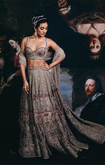 Couture week 2019 Bridal crystal work Lehenga Set