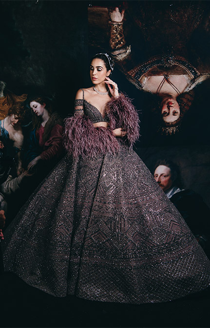 Couture week 2019 Bridal heavy grey hand work lehenga Set