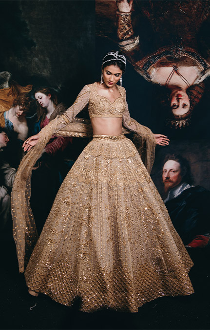 Couture week 2019 Bridal gold Embroidered Lehenga Set