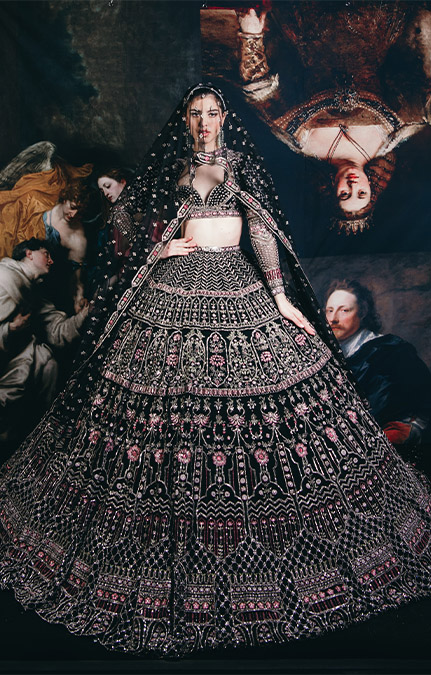 Couture week 2019 Bridal black design work lehenga Set