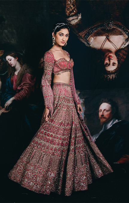 Couture week 2019 Bridal Red Heavy Work Lehenga Set