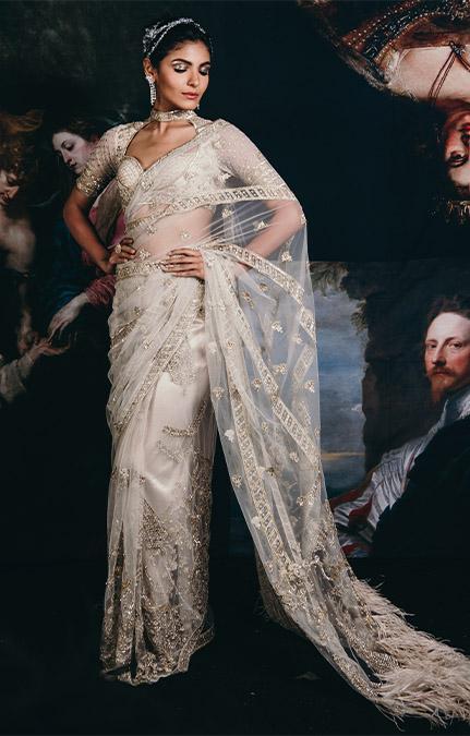 Couture week 2019 Bridal hand work Saree Set