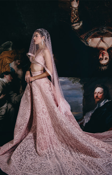 Couture week 2019 Bridal Embroidered Pink Lehenga Set