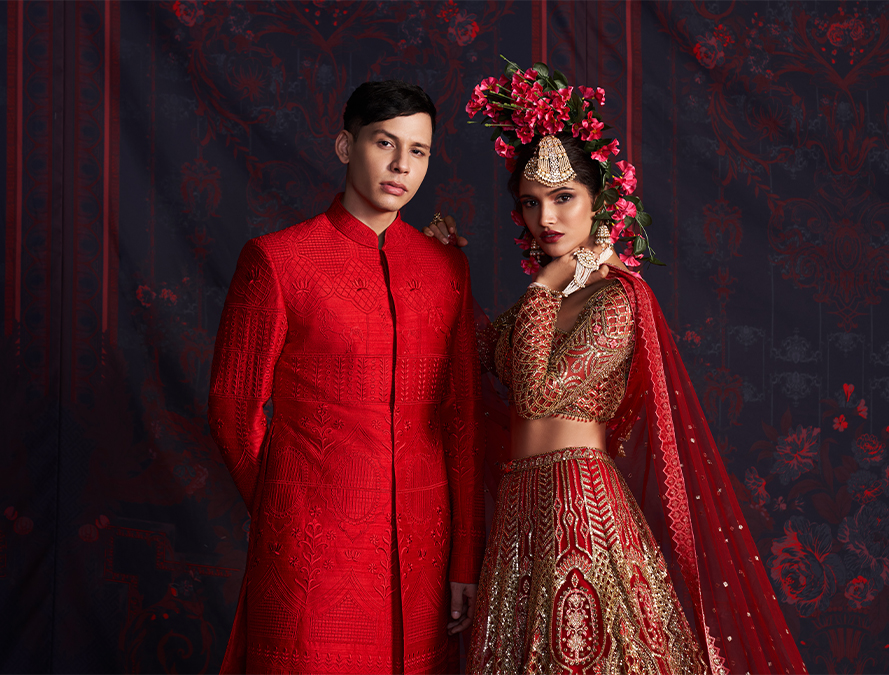Marry Me in Jaipur Red Lehenga and Serwani set