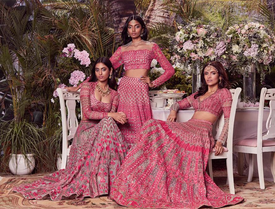 Au Revoir Phool Mahal Emboirdered Pink Bridal Lehenga Set