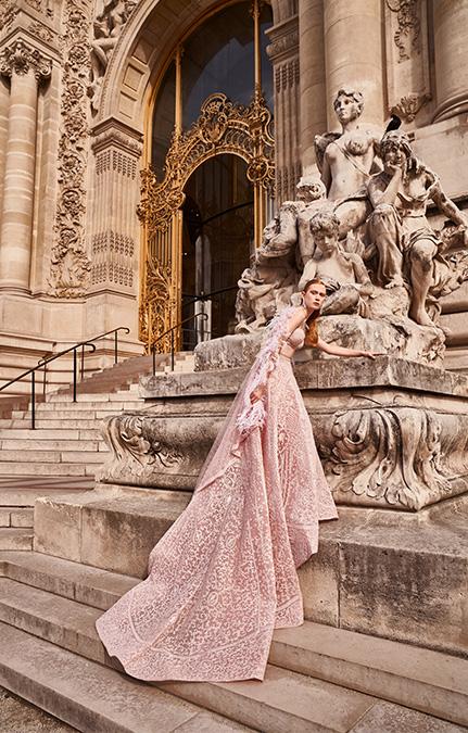 Poised in Paris Bridal Beige long lehenga set