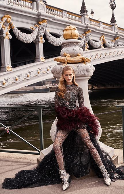 Poised in Paris Bridal black long jumpsuit set