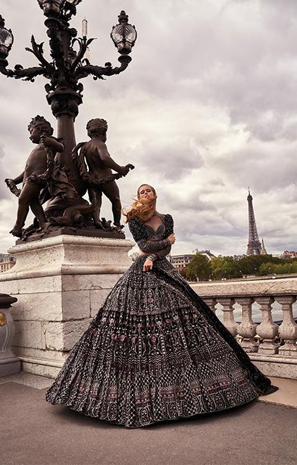 Poised in Paris Bridal black heavy lehenga set