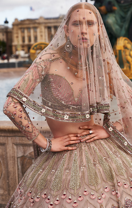 Poised in Paris Bridal Beige heavy lehenga set