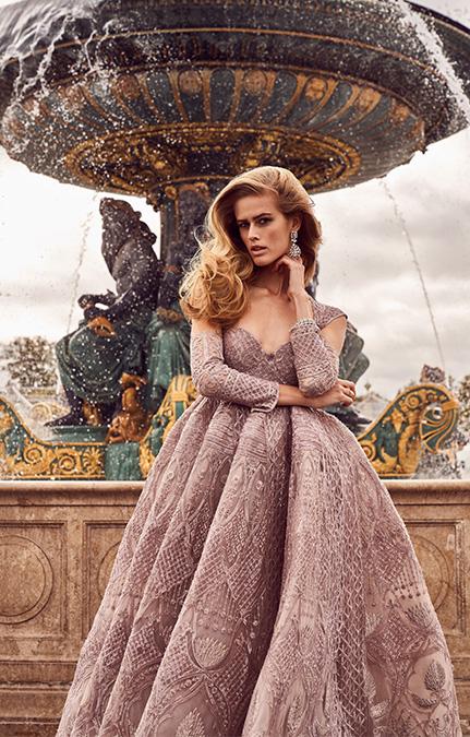 Poised in Paris Bridal Beige heavy Gown