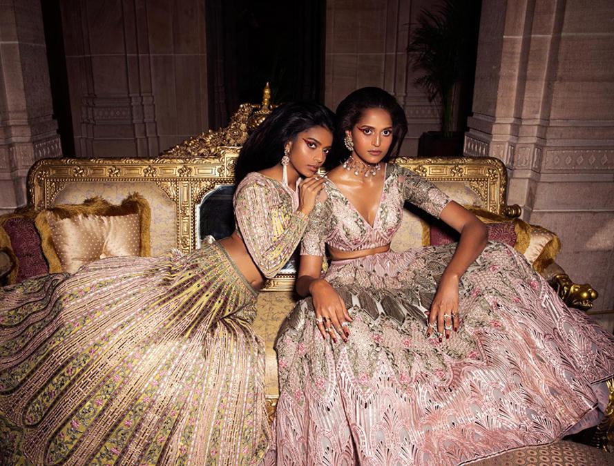 Au Revoir Phool Mahal ink gold Embroidered Lehenga Set