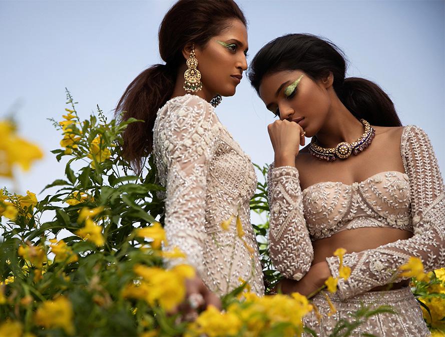 Au Revoir Phool Mahal beige Foil Gown