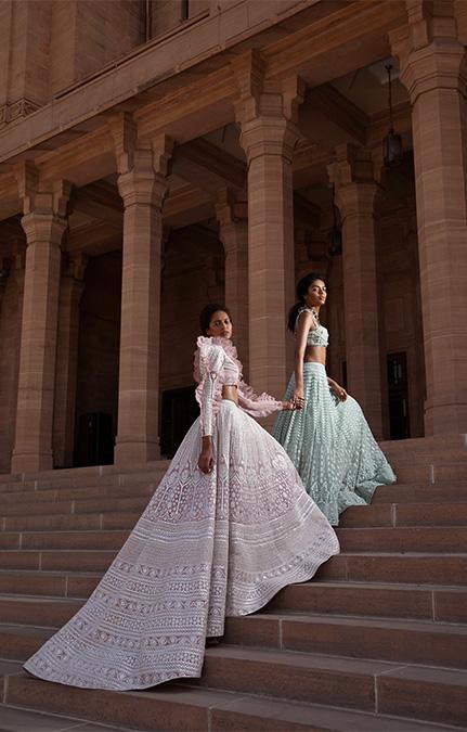 Au Revoir Phool Mahal skyblue Embroidered Lehenga Set